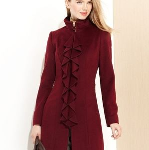 Tahari Wool Pea Coat with Ruffle, Marron,